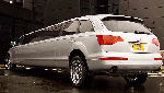 Chauffeur stretched silver Audi Q7 limousine hire in Glasgow, Edinburgh, Scotland