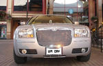 Chauffeur stretch silver Chrysler C300 Baby Bentley limousine hire in Birmingham, Dudley, Wolverhampton, Telford, Walsall, Stafford, Worcester