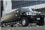 Chauffeur stretch black Hummer H2 limo hire in Glasgow, Edinburgh, Aberdeen, Dundee, Scotland